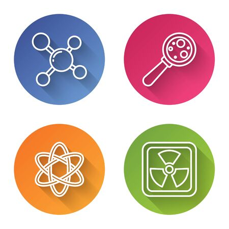 Set line Molecule, Microorganisms under magnifier, Atom and Radioactive. Color circle button. Vector