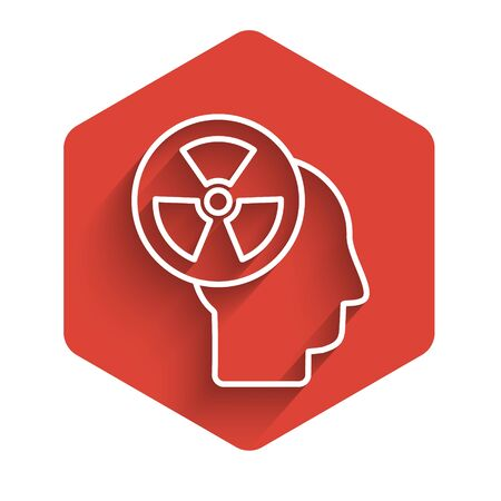 White line Silhouette of a human head and a radiation symbol icon isolated with long shadow. Red hexagon button. Vector Illustration