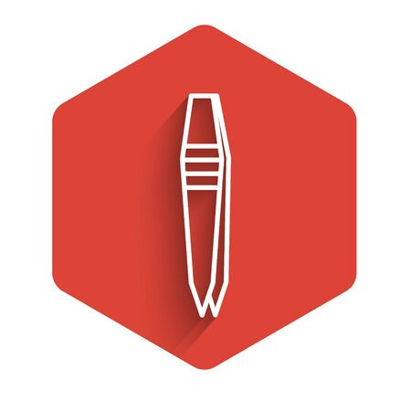White line Tweezers icon isolated with long shadow. Red hexagon button. Vector Illustration