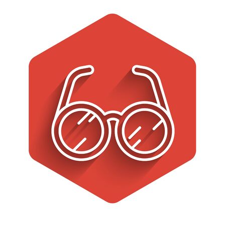 White line Laboratory glasses icon isolated with long shadow. Red hexagon button. Vector Illustration Ilustração