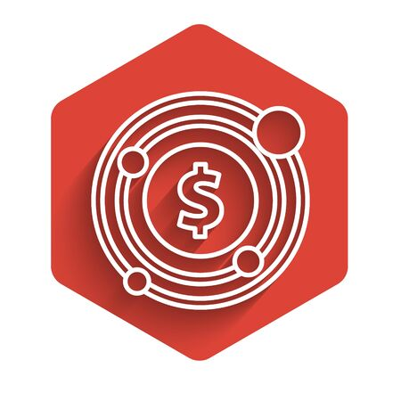 White line Target with dollar symbol icon isolated with long shadow. Investment target icon. Successful business concept. Cash or Money. Red hexagon button. Vector Illustration