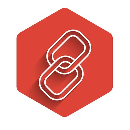White line Chain link icon isolated with long shadow. Link single. Red hexagon button. Vector Illustration