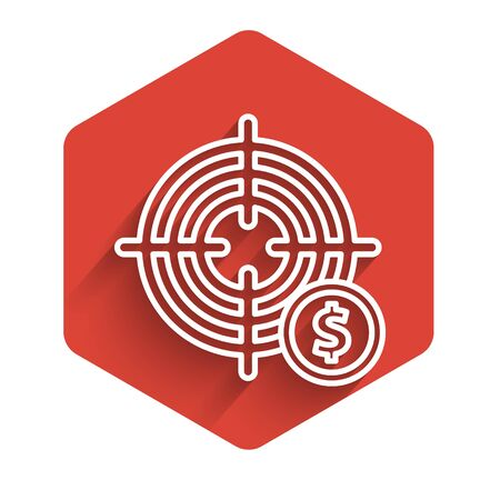 White line Target with dollar symbol icon isolated with long shadow. Investment target icon. Successful business concept. Cash or Money. Red hexagon button. Vector Illustration Иллюстрация