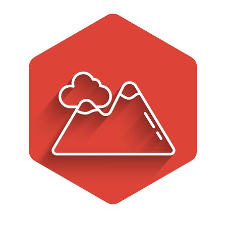 White line Mountains icon isolated with long shadow. Symbol of victory or success concept. Red hexagon button. Vector Illustration Ilustrace