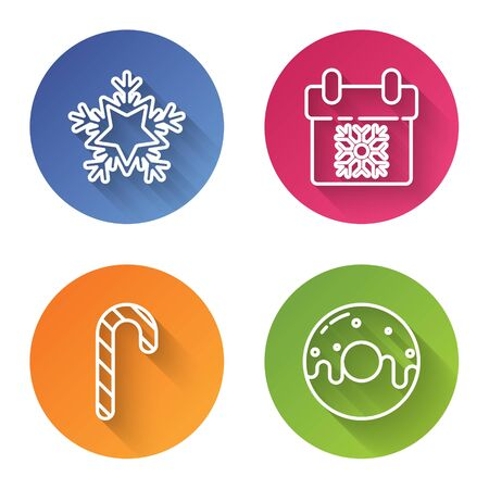 Set line Snowflake, Calendar, Christmas candy cane with stripes and Donut with sweet glaze. Color circle button. Vector