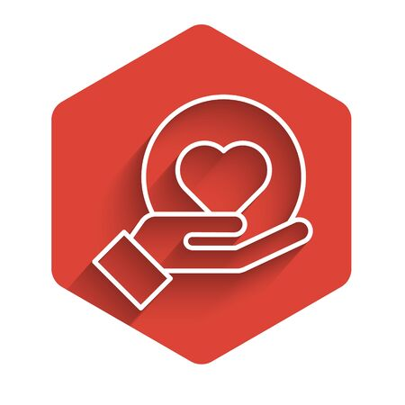 White line Heart on hand icon isolated with long shadow. Hand giving love symbol. Red hexagon button. Vector Illustration