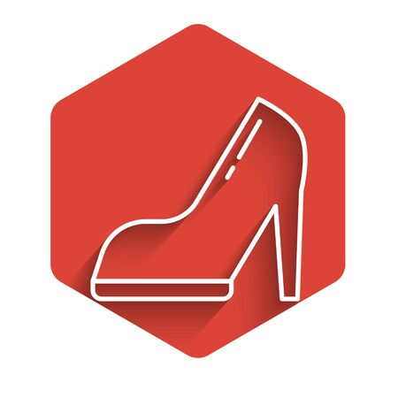 White line Woman shoe with high heel icon isolated with long shadow. Red hexagon button. Vector Illustration 向量圖像