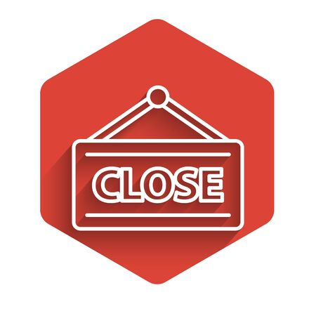 White line Hanging sign with text Closed icon isolated with long shadow. Business theme for cafe or restaurant. Red hexagon button. Vector Illustration Foto de archivo - 140073905