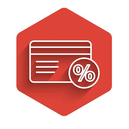White line Discount card with percent icon isolated with long shadow. Loyalty points card. Red hexagon button. Vector Illustration Illustration