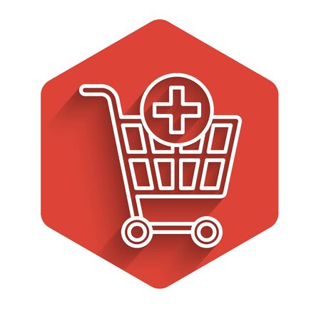 White line Add to Shopping cart icon isolated with long shadow. Online buying concept. Delivery service sign. Supermarket basket symbol. Red hexagon button. Vector Illustration