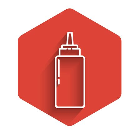 White line Sauce bottle icon isolated with long shadow. Ketchup, mustard and mayonnaise bottles with sauce for fast food. Red hexagon button. Vector Illustration