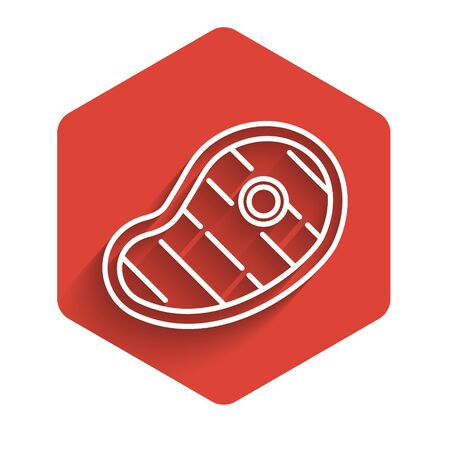 White line Steak meat icon isolated with long shadow. Red hexagon button. Vector Illustration