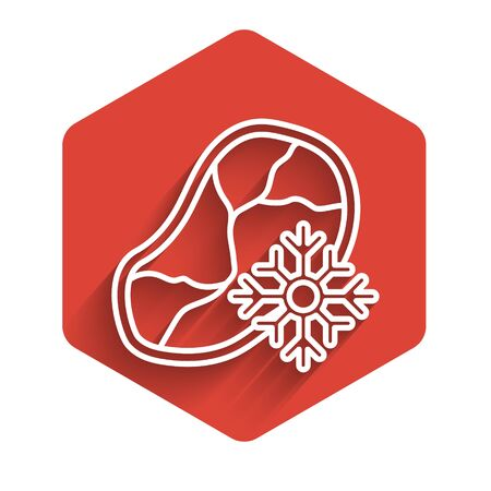 White line Fresh frozen steak meat icon isolated with long shadow. Red hexagon button. Vector Illustration