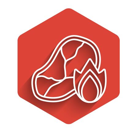 White line Grilled steak meat and fire flame icon isolated with long shadow. Red hexagon button. Vector Illustration