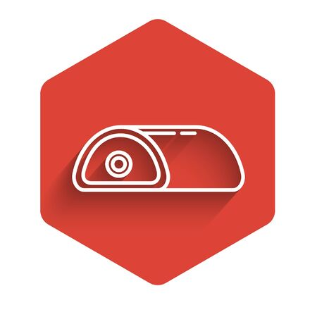 White line Meat icon isolated with long shadow. Red hexagon button. Vector Illustration
