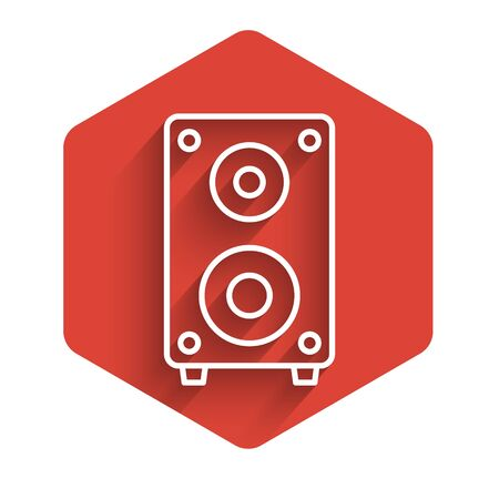 White line Stereo speaker icon isolated with long shadow. Sound system speakers. Music icon. Musical column speaker bass equipment. Red hexagon button. Vector Illustration Ilustração