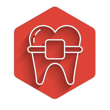 White line Teeth with braces icon isolated with long shadow. Alignment of bite of teeth, dental row with with braces. Dental concept. Red hexagon button. Vector Illustration  イラスト・ベクター素材