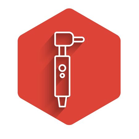 White line Tooth drill icon isolated with long shadow. Dental handpiece for drilling and grinding tools. Red hexagon button. Vector Illustration Ilustracja