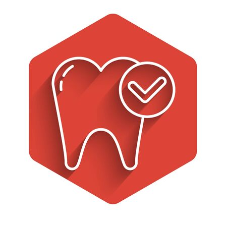 White line Tooth whitening concept icon isolated with long shadow. Tooth symbol for dentistry clinic or dentist medical center. Red hexagon button. Vector Illustration