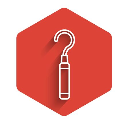 White line Dental explorer scaler for teeth icon isolated with long shadow. Red hexagon button. Vector Illustration