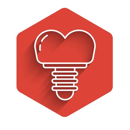 White line Dental implant icon isolated with long shadow. Red hexagon button. Vector Illustration