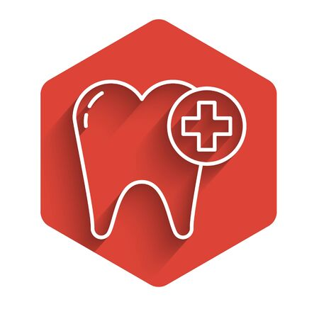 White line Tooth icon isolated with long shadow. Tooth symbol for dentistry clinic or dentist medical center and toothpaste package. Red hexagon button. Vector Illustration