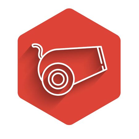White line Cannon icon isolated with long shadow. Medieval weapons. Red hexagon button. Vector Illustration