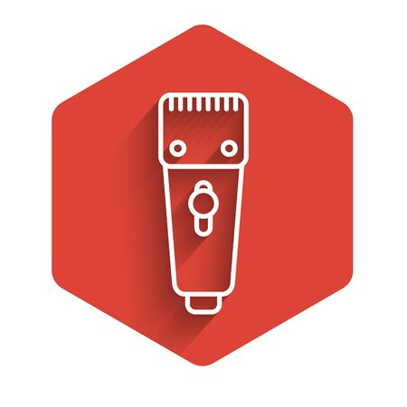 White line Electrical hair clipper or shaver icon isolated with long shadow. Barbershop symbol. Red hexagon button. Vector Illustration