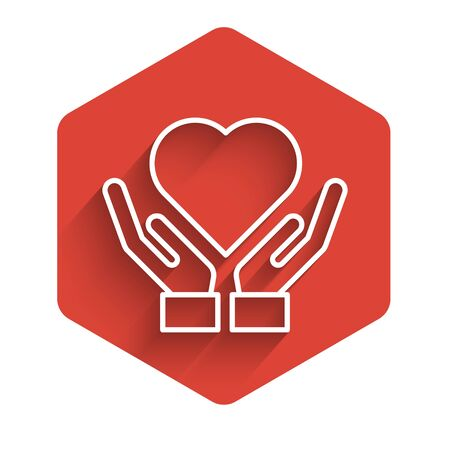 White line Heart on hand icon isolated with long shadow. Hand giving love symbol. Valentines day symbol. Red hexagon button. Vector Illustration