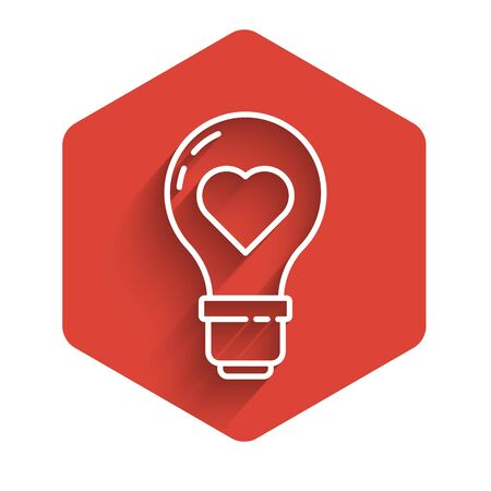 White line Heart shape in a light bulb icon isolated with long shadow. Love symbol. Valentine day symbol. Red hexagon button. Vector Illustration
