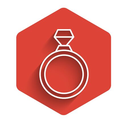 White line Diamond engagement ring icon isolated with long shadow. Red hexagon button. Vector Illustration