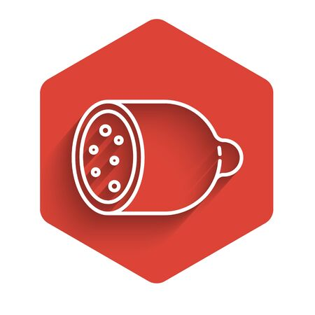 White line Salami sausage icon isolated with long shadow. Meat delicatessen product. Red hexagon button. Vector Illustration Ilustracja