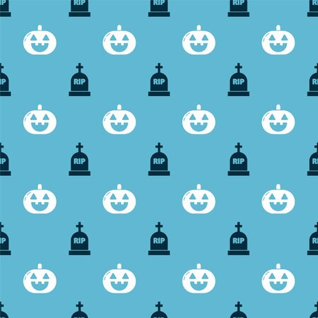 Set Tombstone with RIP and Pumpkin  on seamless pattern. Vector