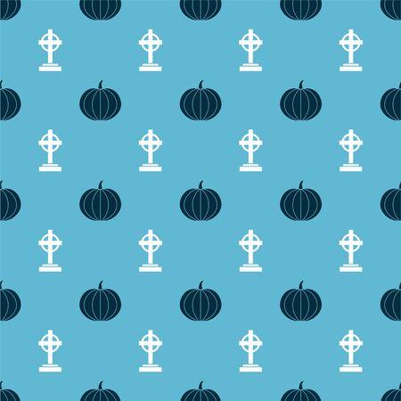 Set Pumpkin  and Tombstone with cross  on seamless pattern. Vector Ilustração