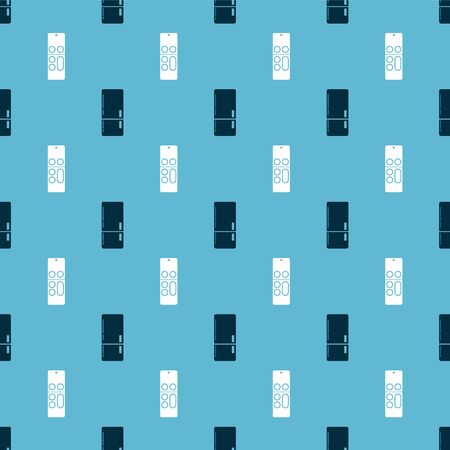 Set Refrigerator  and Remote control  on seamless pattern. Vector Stock Illustratie