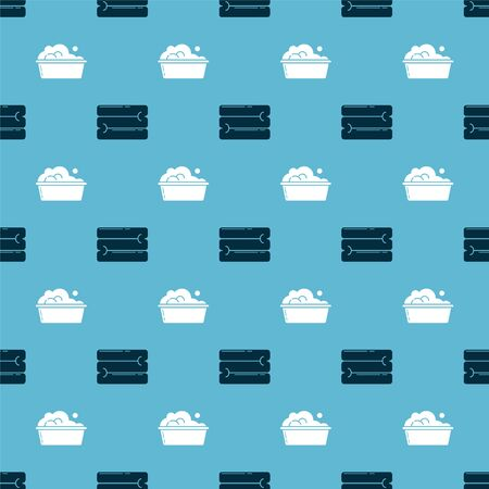 Set Towel stack and Plastic basin with soap suds on seamless pattern. Vector Ilustração