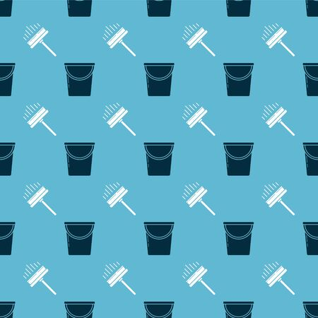 Set Bucket and Squeegee, scraper, wiper on seamless pattern. Vector