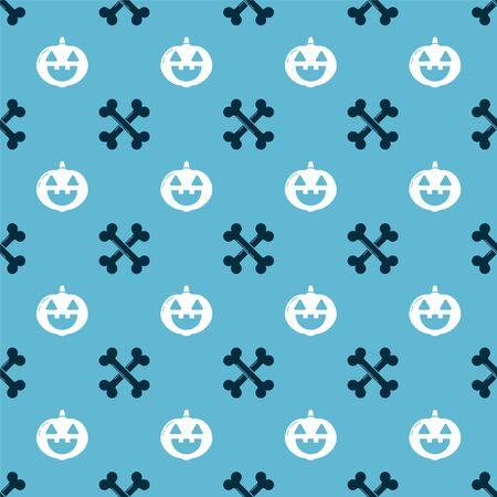 Set Crossed bones and Pumpkin on seamless pattern. Vector Ilustração