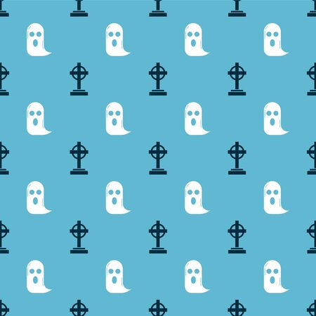 Set Tombstone with cross and Ghost on seamless pattern. Vector