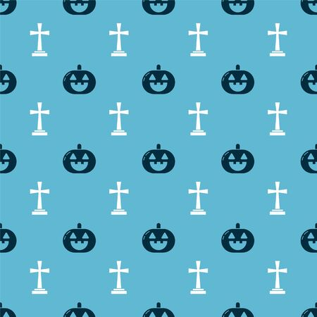 Set Pumpkin and Tombstone with cross on seamless pattern. Vector