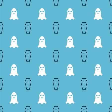 Set Coffin with christian cross and Ghost on seamless pattern. Vector