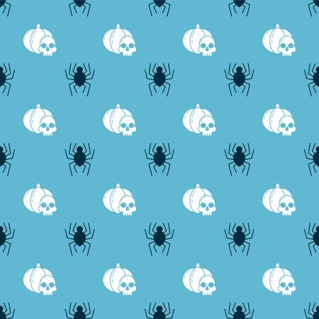 Set Spider and Pumpkin and skull on seamless pattern. Vector