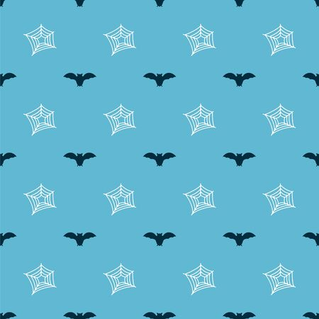 Set Flying bat and Spider web on seamless pattern. Vector