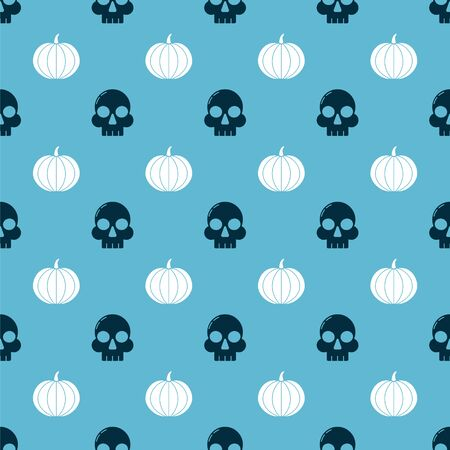 Set Skull and Pumpkin on seamless pattern. Vector