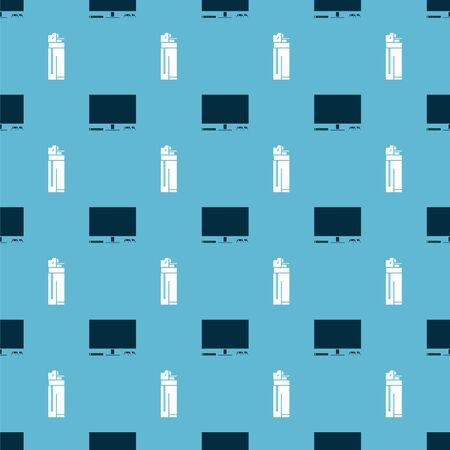 Set Video game console and Lighter on seamless pattern. Vector