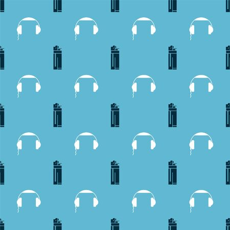 Set Lighter and Headphones on seamless pattern. Vector