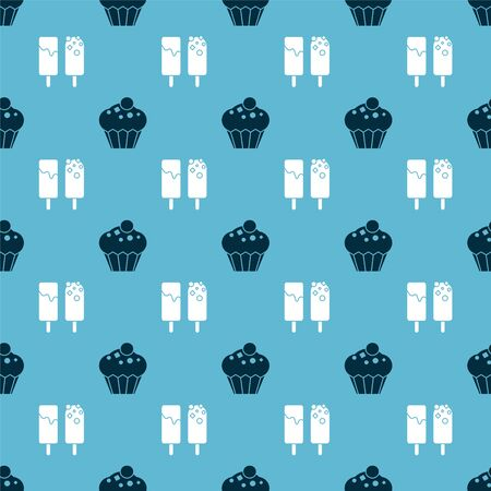 Set Muffin  and Ice cream  on seamless pattern. Vector
