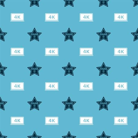 star frame and Laptop screen with 4k video technology on seamless pattern. Vector