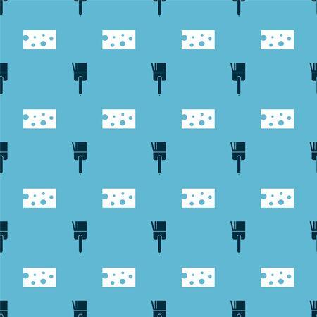 Set Kitchen brush  and Cheese  on seamless pattern. Vector Ilustracja