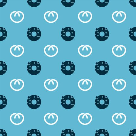Set Donut with sweet glaze  and Pretzel  on seamless pattern. Vector
